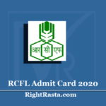 RCFL Admit Card 2020 (Out) | Fireman Operator Management Trainee Hall Ticket