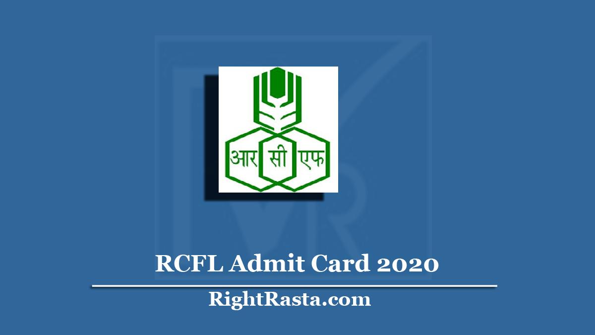 RCFL Admit Card 2020