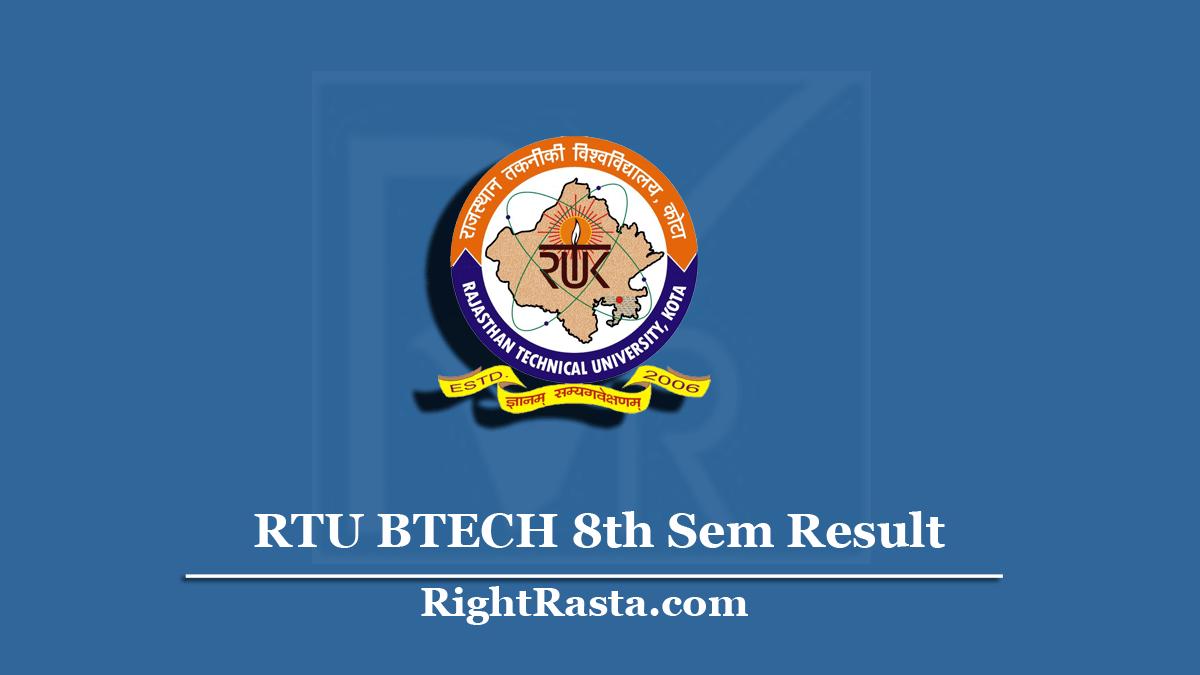 RTU BTECH 8th Sem Result
