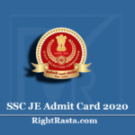 SSC JE Admit Card 2020 | Junior Engineer Paper I Hall Ticket (NR Region)