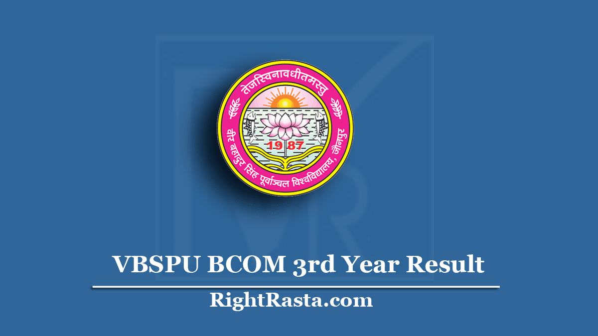 VBSPU BCOM 3rd Year Result