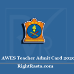 AWES Teacher Admit Card 2020 (Out) | Download APS PGT TGT PRT Hall Ticket