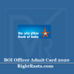 BOI Officer Admit Card 2020 (Out)   Download Bank of India Scale IV Hall Ticket