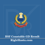 BSF Constable GD Result 2020 (Out) | Download Border Security Force Exam Results