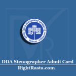DDA Stenographer Admit Card 2020 (Out) | Delhi Development Authority Hall Ticket