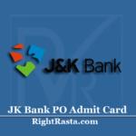 JK Bank PO Admit Card 2020 (Out) | J&K Bank Probationary Officer Hall Ticket