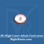 JK High Court Admit Card 2020 (Out) | JA DEO Computer Operator Hall Ticket