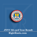 JNVU BA 3rd Year Result 2020 (Out) | Download B.A Final (Part 3) Results