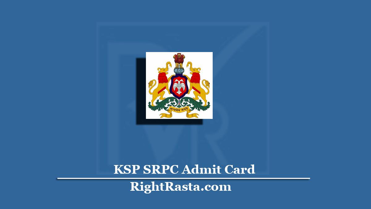 KSP SRPC Admit Card