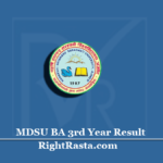 MDSU BA 3rd Year Result 2020 (Out) | Download B.A Final Results