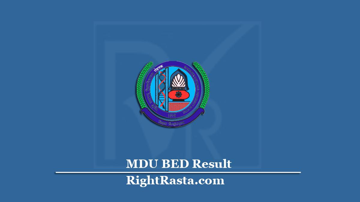 MDU BED Result 2020