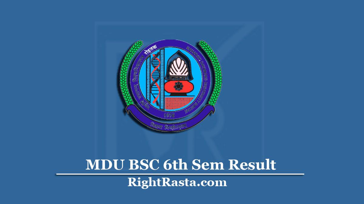 MDU BSC 6th Sem Result