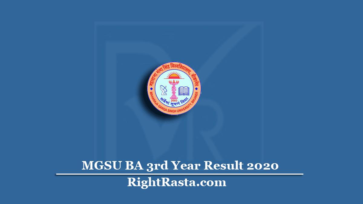 MGSU BA 3rd Year Result