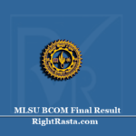 MLSU BCOM Final Result 2020 (Out) | Download B.Com 3rd Year Results
