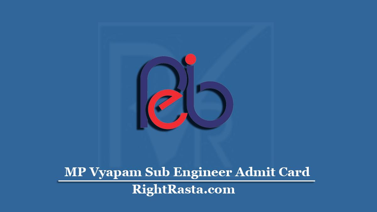MP VyapamSub Engineer Admit Card