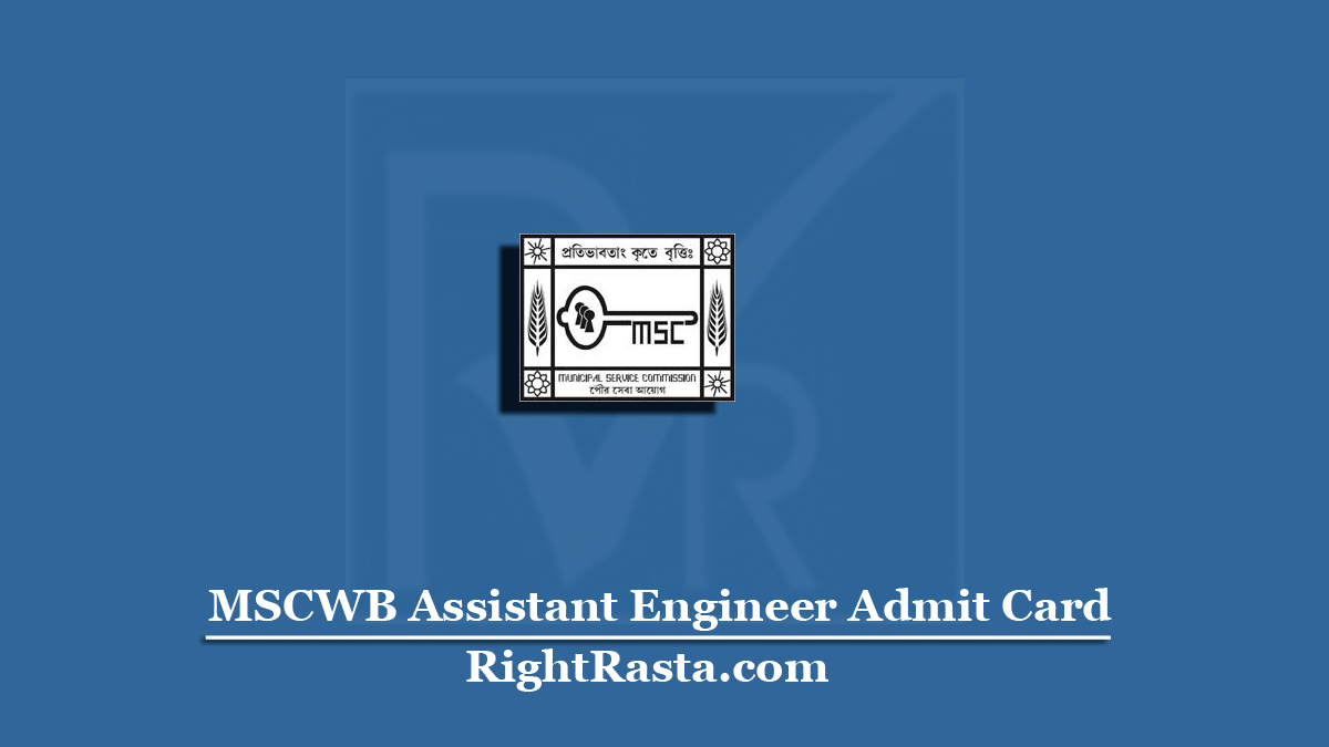MSCWB Assistant Engineer Admit Card