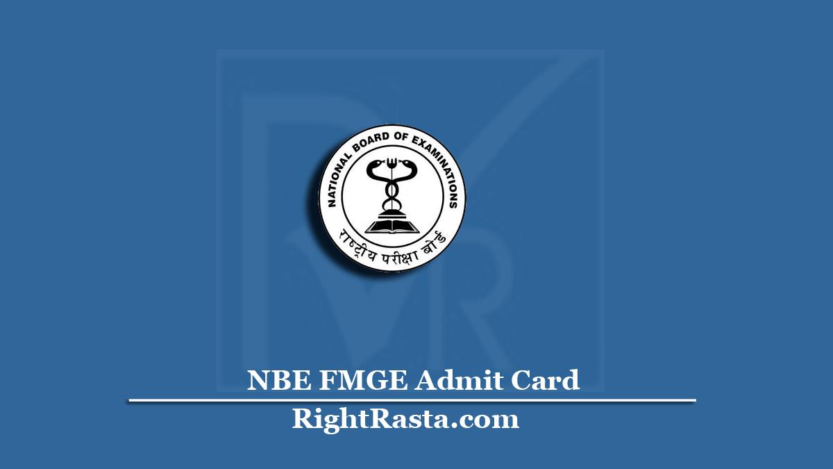 NBE FMGE Admit Card