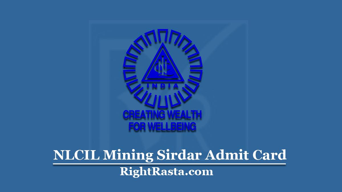 NLCIL Mining Sirdar Admit Card