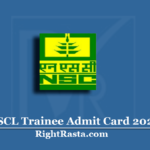 NSCL Trainee Admit Card 2020 (Out) | National Seeds Corporation NSC Hall Ticket