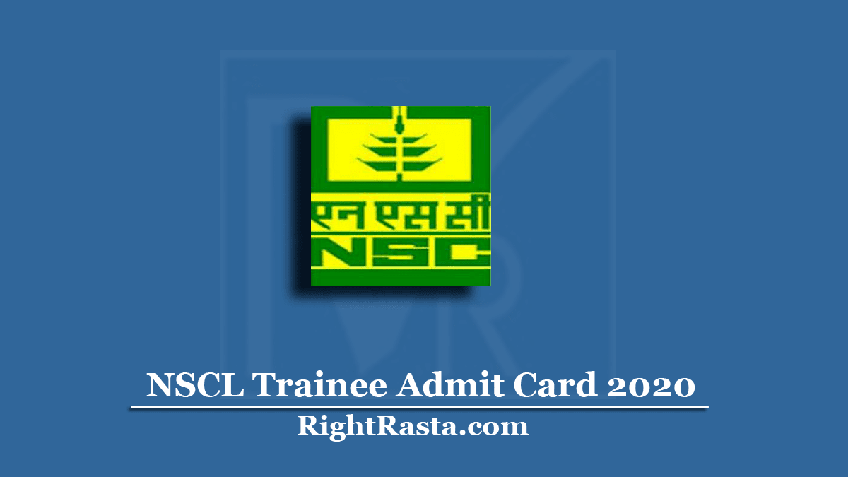NSCL Trainee Admit Card