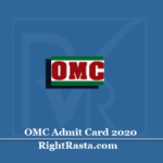 OMC Admit Card 2020 (Out) | Download OMCL Non Executive Post Hall Ticket