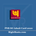 PNB SO Admit Card 2020 (Out) | Download Specialist Officer Hall Ticket