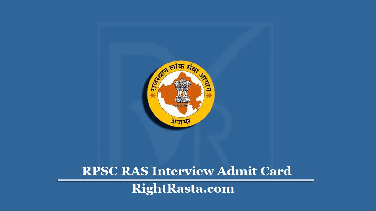 RPSC RAS Interview Admit Card