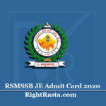 RSMSSB JE Admit Card 2020 (Out) | Download Rajasthan Junior Engineer Hall Ticket