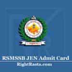 RSMSSB JEN Admit Card 2020 | Check Rajasthan RSSB JE Exam Date