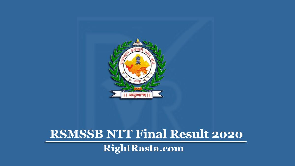 RSMSSB NTT Final Result
