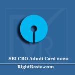 SBI CBO Admit Card 2020 (Out) | Download Circle Based Officer Hall Ticket