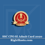SSC CPO SI Admit Card 2020 (Out) | Download Sub Inspector Paper I Hall Ticket
