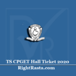 TS CPGET Hall Ticket 2020 (Out) | Download Telangana PG Admit Card
