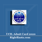 UCIL Admit Card 2020 (Out) | Download Apprentice Mining Mate Hall Ticket