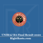 UNIRAJ BA Final Result 2020 (Out) | Rajasthan University B.A 3rd Year Results