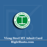 Vizag Steel MT Admit Card 2020 (Out) | RINL Management Trainee Hall Ticket