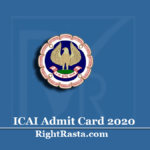 www.icaiexam.icai.org Admit Card 2020 (Out) | Download IPC CA November Hall Ticket