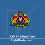 KSP SI Admit Card 2020 (Out) | Karnataka State Police Sub Inspector Hall Ticket