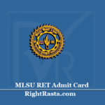 MLSU RET Admit Card 2020 (Out) | Download Ph.D Entrance Hall Ticket