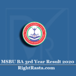 MSBU BA 3rd Year Result 2020 (Out) | Download Brij University B.A Final Results