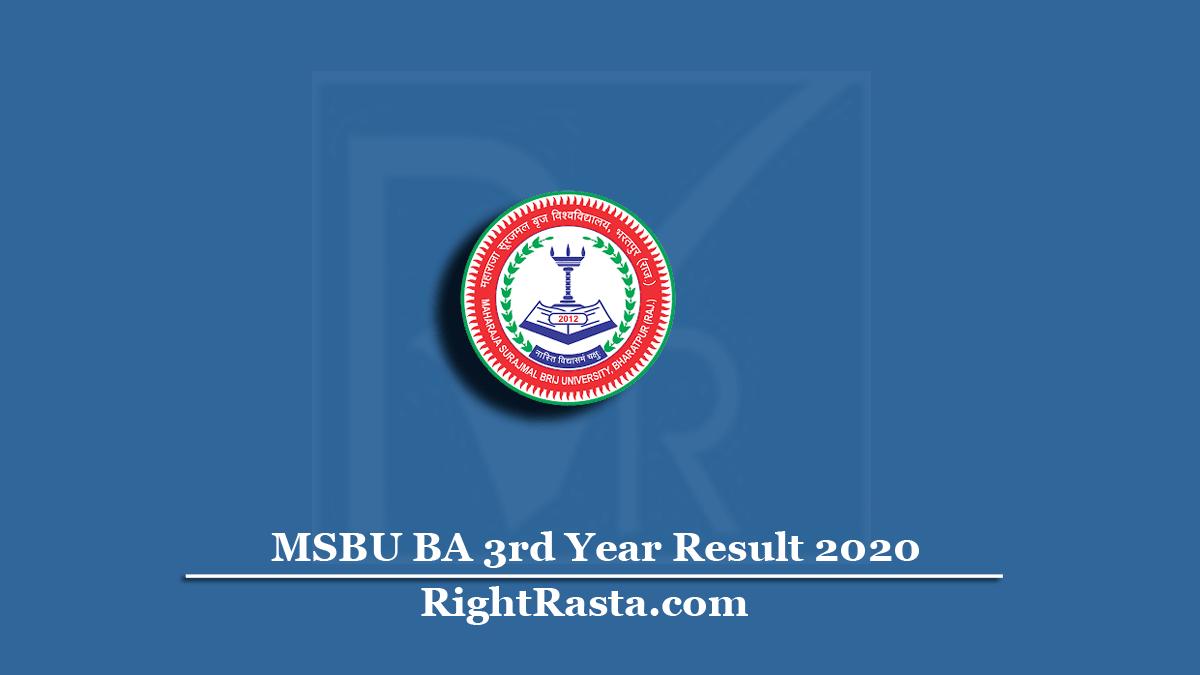 MSBU BA 3rd Year Result