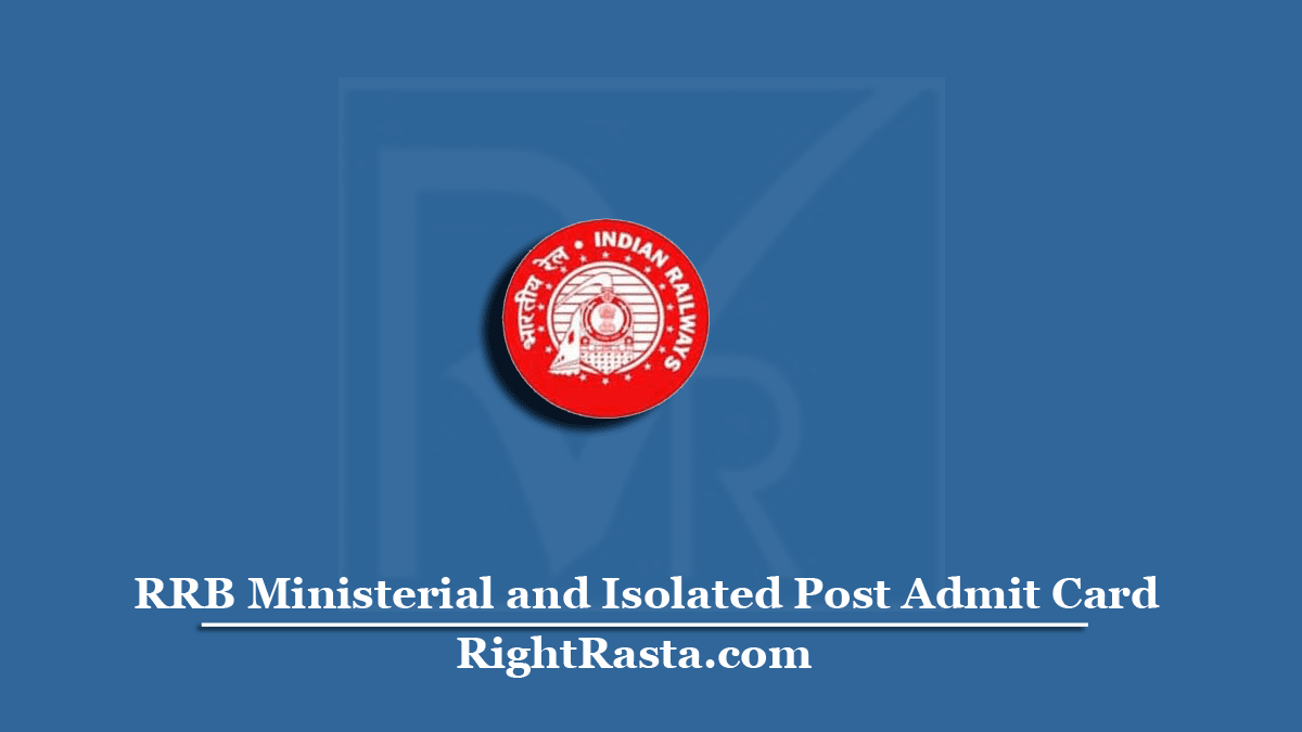 RRB Ministerial and Isolated Post Admit Card
