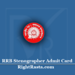 RRB Stenographer Admit Card 2020 (Out) | Download Railway Steno Exam Hall Ticket
