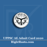 UPPSC AE Admit Card 2020 (Out) | Download UP Assistant Engineer Hall Ticket