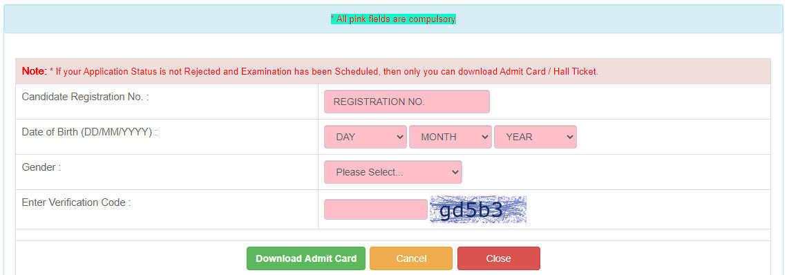 UPPSC Admit Card 2020 Page