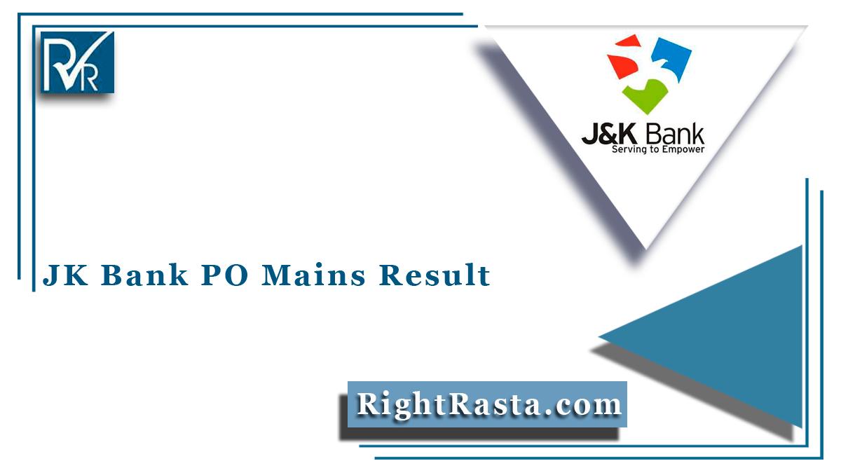 JK Bank PO Mains Result