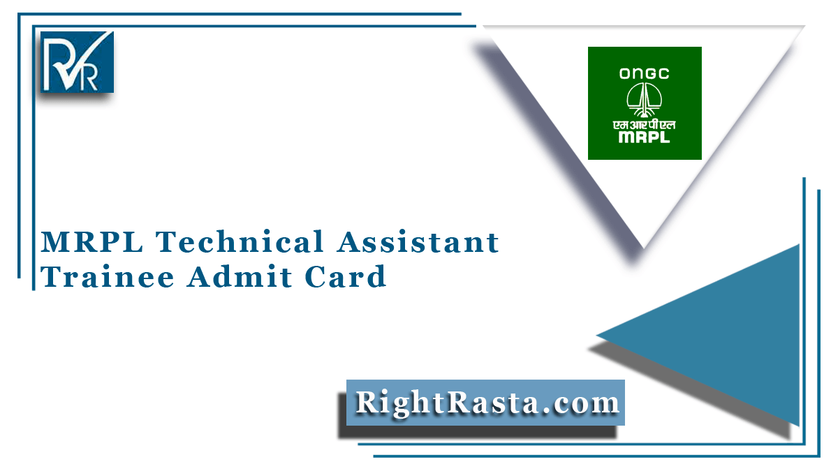 MRPL Technical Assistant Trainee Admit Card