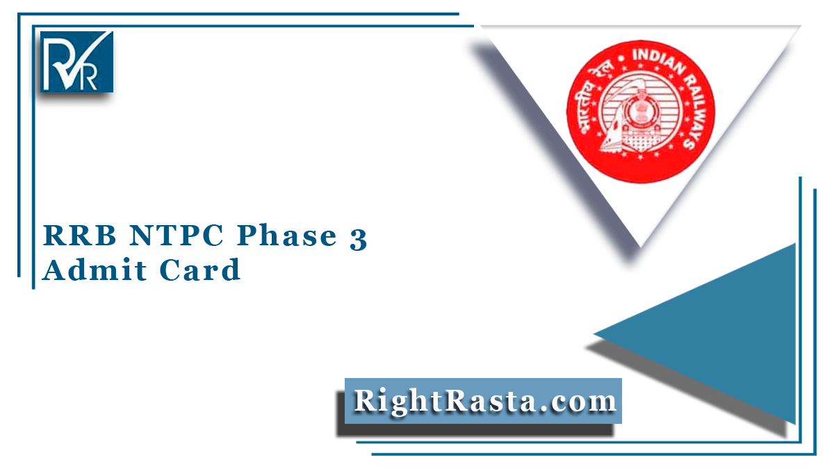 RRB NTPC Phase 3 Admit Card