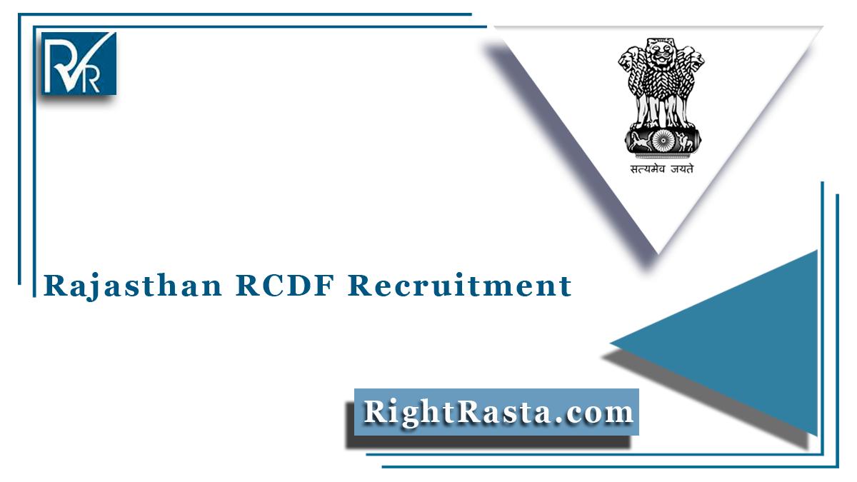 Rajasthan RCDF Recruitment