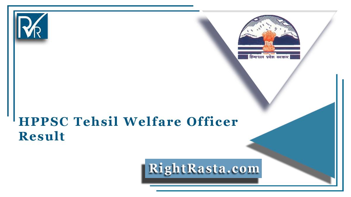 HPPSC Tehsil Welfare Officer Result